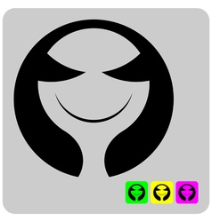cheerful stylized alien face vector image