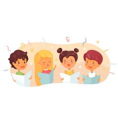 Children choir flat vector