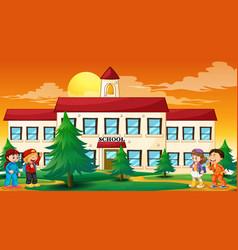 Children outside school scene vector