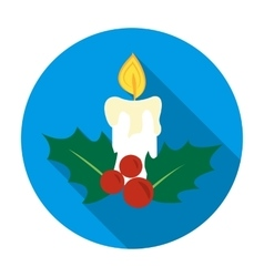 Christmas candle with holly berry icon in flat vector image