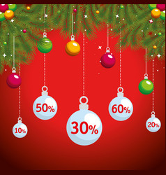 christmas sale label with garlands and balls vector image