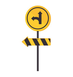 Circular contour road sign turn right vector