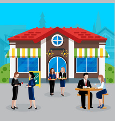Colored flat business lunch people concept vector