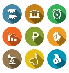 currency devaluation icons set vector image