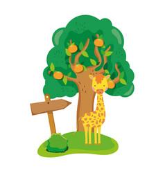 Cute and little giraffe character vector