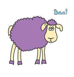 Cute fun cartoon sheep vector