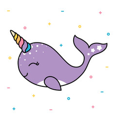 Cute smiling pastel whale with colorful unicorn vector