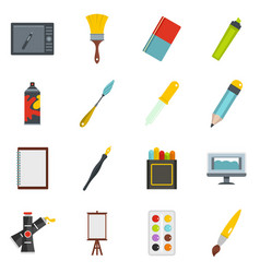 Design and drawing tools icons set in flat style vector