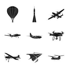Design plane and transport sign set of vector