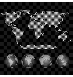 Different views of transparent globe with vector image