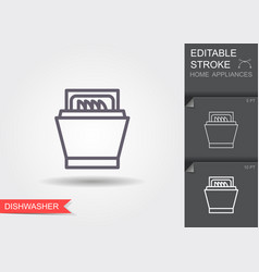 Dishwasher line icon with editable stroke with vector