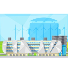 Eco Waste Plant Facilities Flat Poster vector