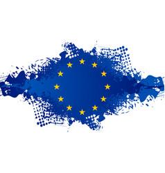 european union concept grunge flag blue blot on vector image