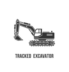 Excavator black silhouette icon construction vector