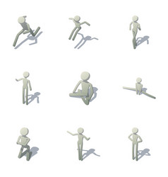 Exercise icons set isometric style vector