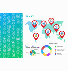 family infographics on world map with line icons vector image
