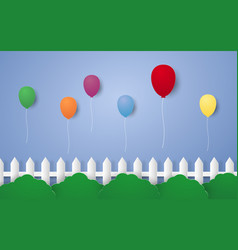 festive balloons flying in the sky paper art vector image