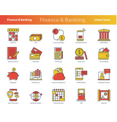 finance colored icon set vector image