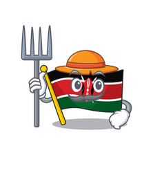 Flag kenya farmer cartoon with character happy vector