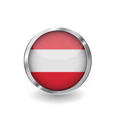 flag of austria button with metal frame and vector image