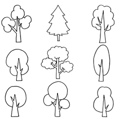 flat tree set on doodles vector image