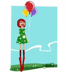Girl with balloons vector