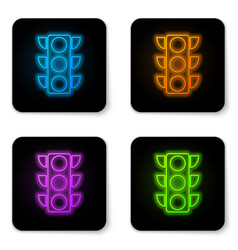 glowing neon traffic light icon isolated on white vector image