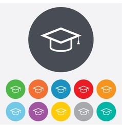 Graduation cap sign icon Education symbol vector image