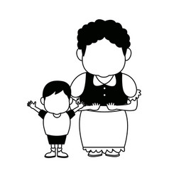 grandma and her grandson standing happy vector image