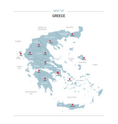 Greece map with red pin vector