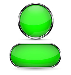 green glass button round and oval web icons vector image