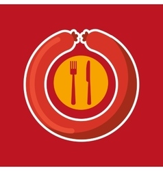 Grill fast food concept grilled sausage vector