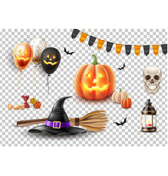 Halloween poster witch hat broom balloon vector
