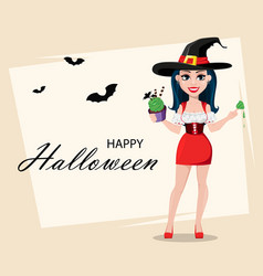 Happy halloween greeting card with sexy witch vector