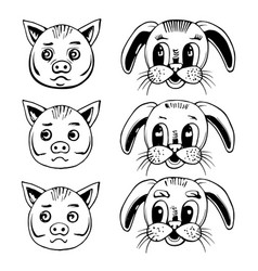 head a pig and a rabbit vector image