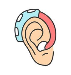 Hearing aid amplifier color icon vector