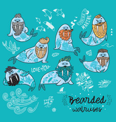 hipster walruses with beards and tattoos in vector image