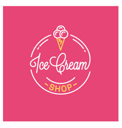ice cream shop logo round linear logo icecream vector image