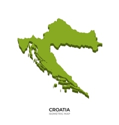 Isometric map of Croatia detailed vector image