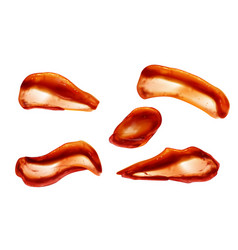 ketchup splashes set top view tomato sauce blobs vector image