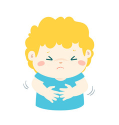 Little boy having stomach ache cartoon vector