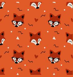 little cute fox head seamless pattern flat orange vector image