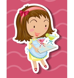 Little girl carrying tray drinks vector