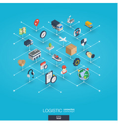 logistic integrated 3d web icons digital network vector image