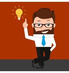 Lucky businessman has an idea vector image