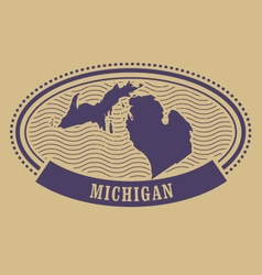 Michigan map silhouette - oval stamp vector