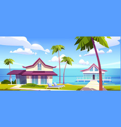 modern bungalows on island resort beach seaside vector image