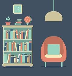 Modern Design Interior Sofa And Bookcase vector image