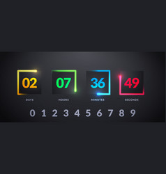 modern futuristic counter countdown with colorful vector image