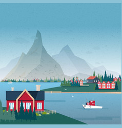 Norwegian landscape panorama bay view with vector